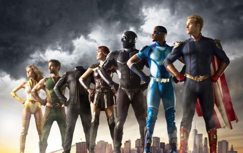 Los protagonistas de The Boys posan en una pose heroica para la imagen promocional de la serie.