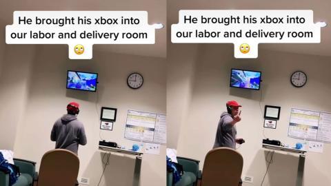 Hombre se lleva la Xbox a la sala de partos