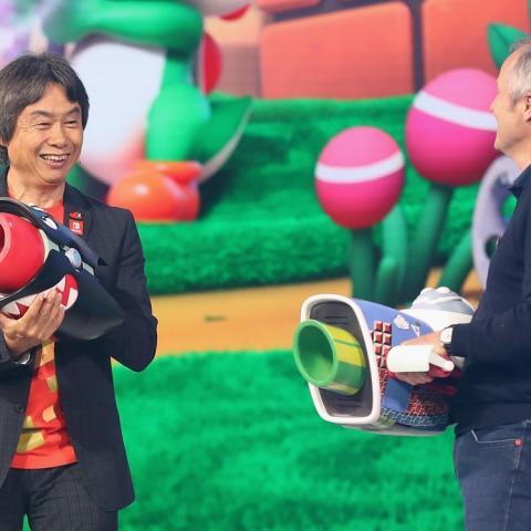 <div>Miyamoto en la presentación de 'Mario Rabbids Kingdom Battle' en el E3.</div>