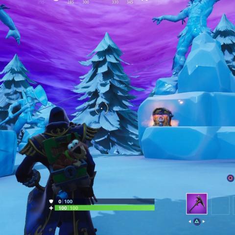 Desafío baila entre tres esculturas de hielo, tres dinosaurios y cuatro aguas termales Fortnite