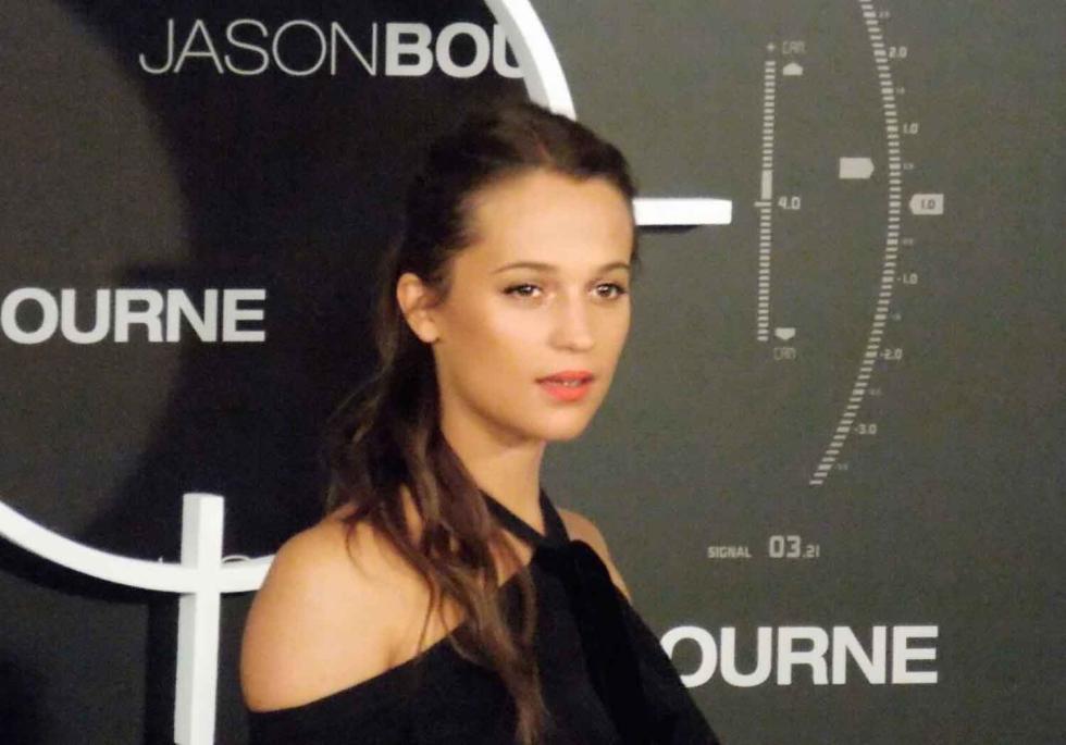 Alicia Vikander en la presentación de Jason Bourne