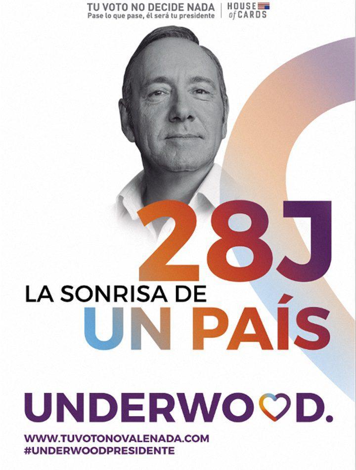 House of Cards - carteles PP, PSOE, Ciudadanos y Podemos