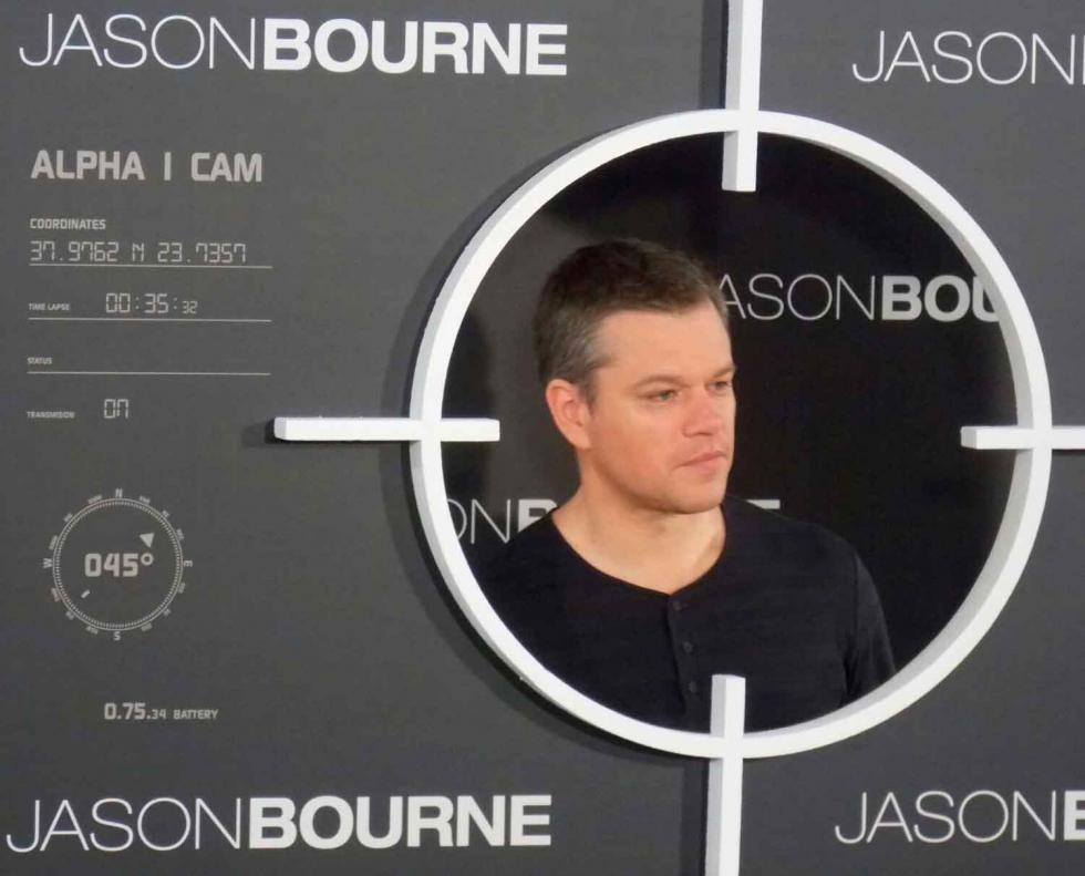 Matt Damon en la presentación de Jason Bourne