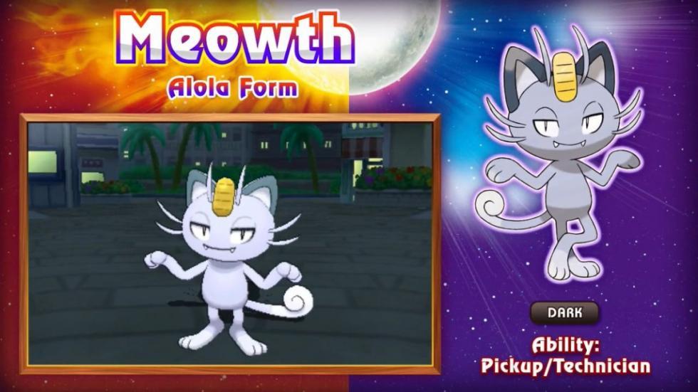 Meowth Pokémon Sol y Luna