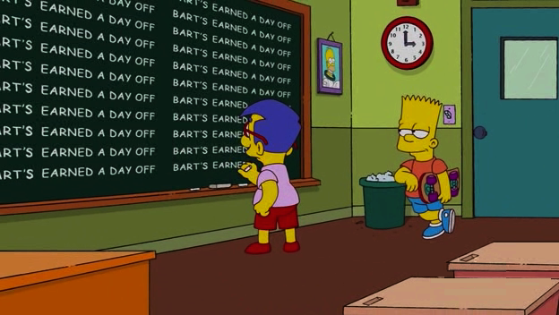 "Los Simpson - Gag pizarra ""Bart's earned a day off"""