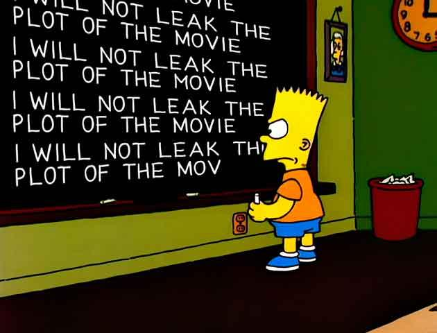 "Los Simpson - Gag pizarra ""I will not leak the plot of the movie"""