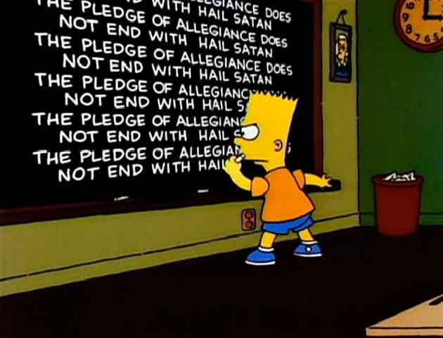 "Los Simpson - Gag pizarra ""The Pledge of Allegiance..."""
