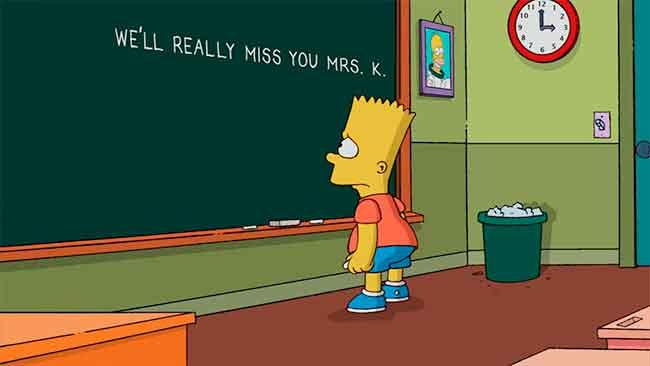 "Los Simpson - Gag pizarra ""We'll really miss you, Mrs. K."""