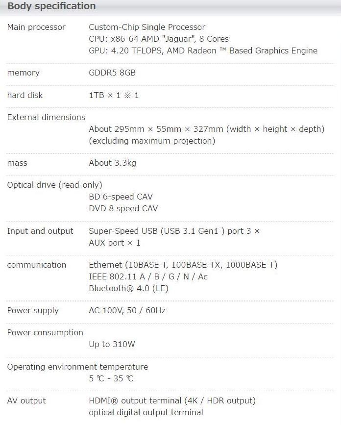 PS4 Pro especificaciones