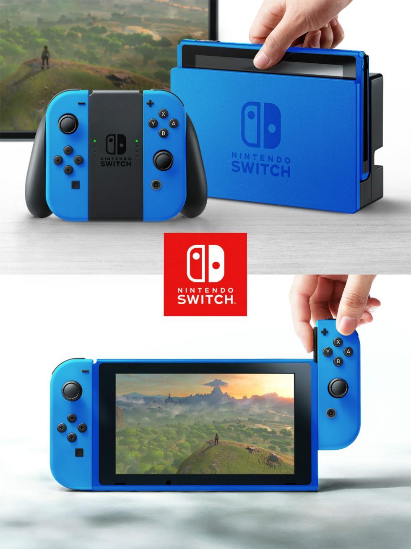 Nintendo Switch con carcasa de azul