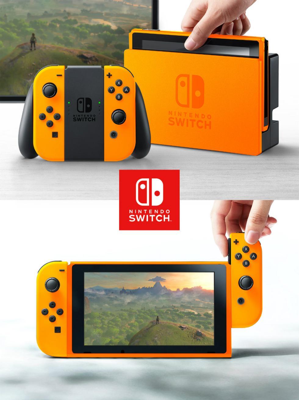 Nintendo Switch con carcasa de naranja
