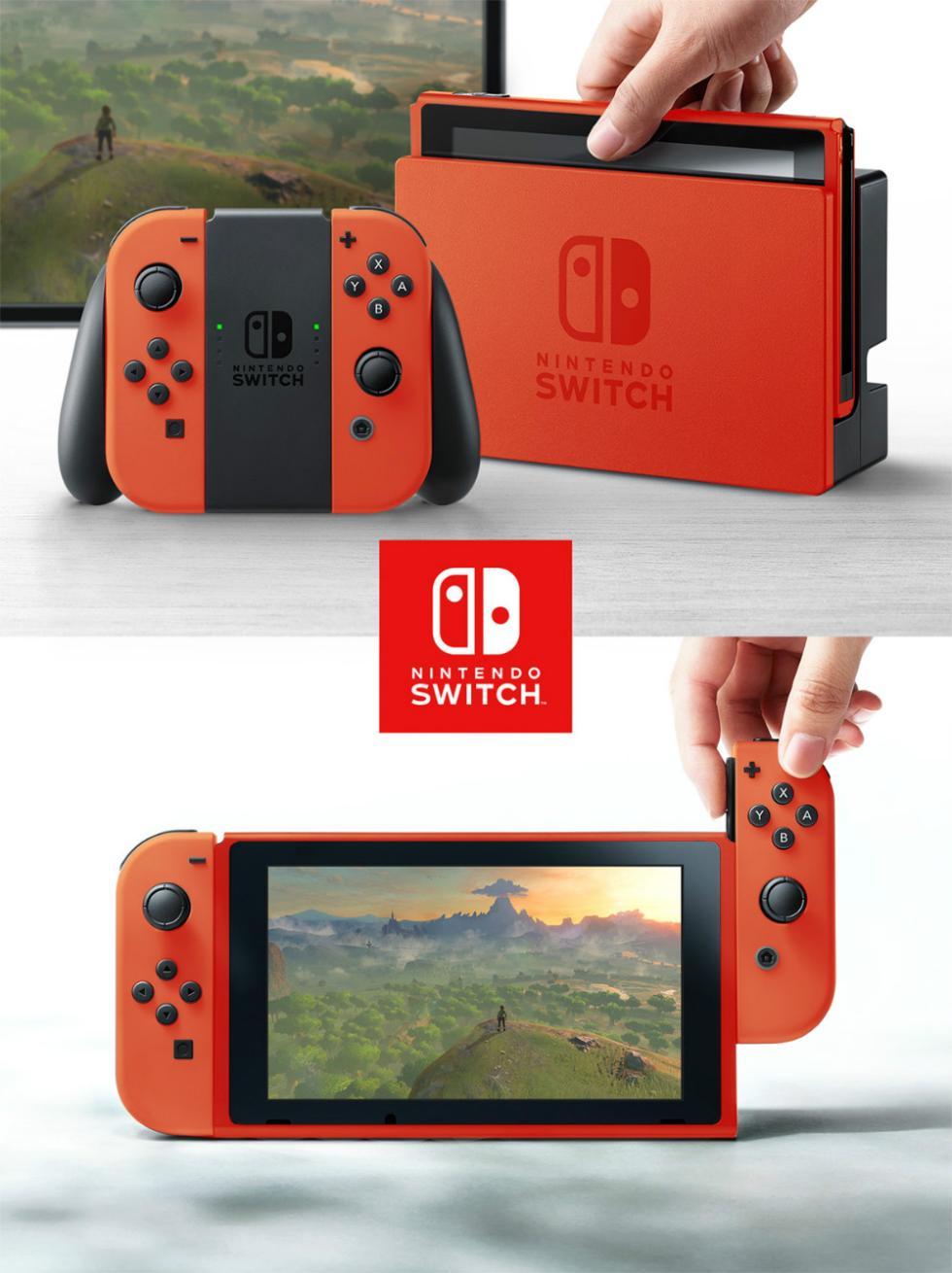 Nintendo Switch con carcasa de roja