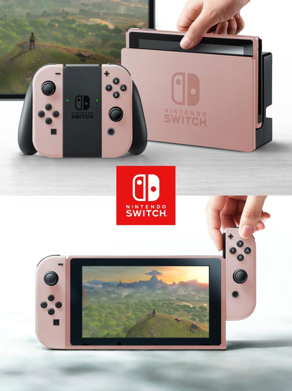 Nintendo Switch con carcasa de rosa