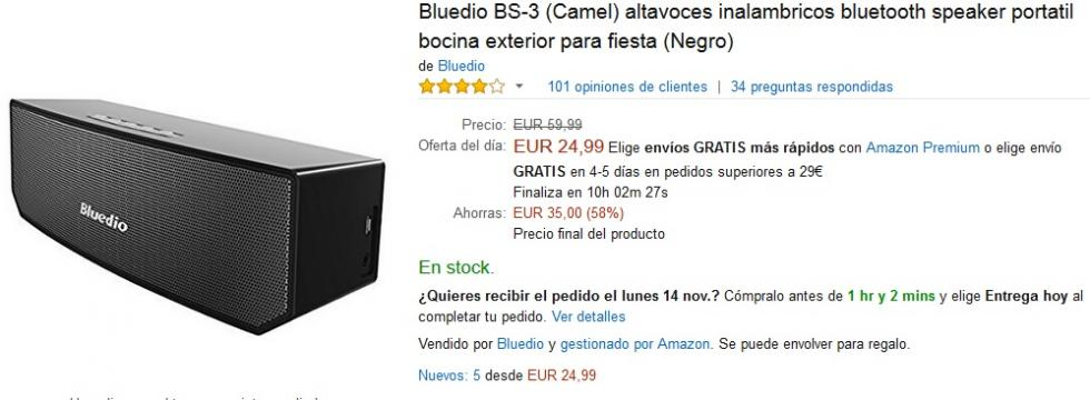 Black Friday Amazon - Altavoz Bluedio BS-3