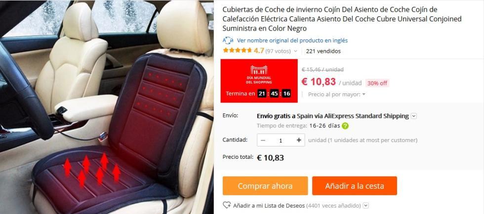 11 del 11 AliExpress - Cojín con calefacción para coche por 10,83 €