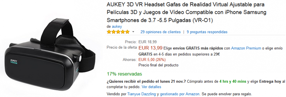 Black Friday Amazon - Gafas Aukey 3D VR