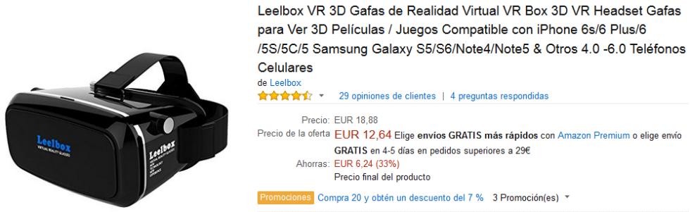 Black Friday Amazon - Gafas Leelbox VR 3D