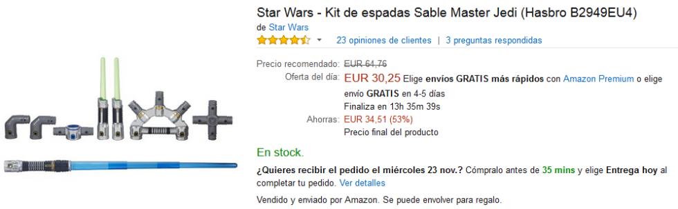 Black Friday Amazon - Kit de espadas Sable Master Jedi de Star Wars