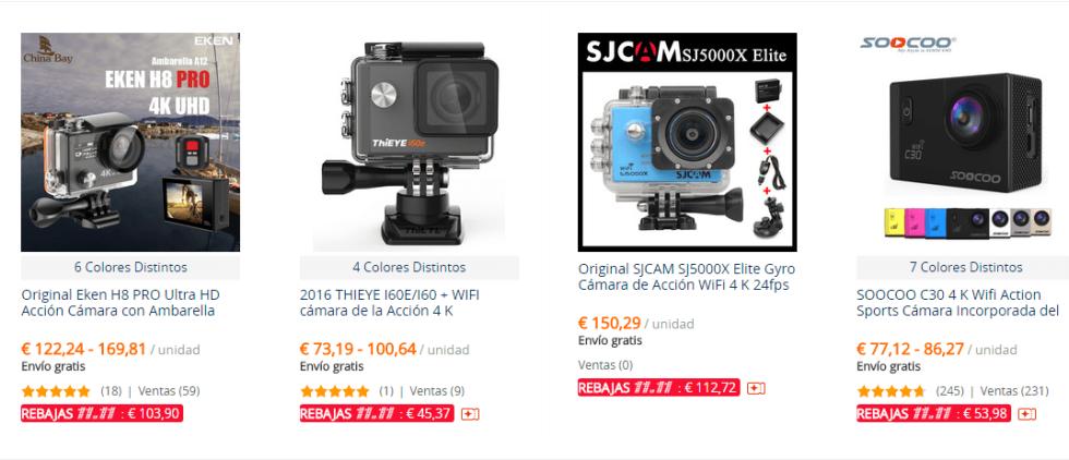Ofertas en cámaras deportivas 4K del 11 del 11 en AliExpress