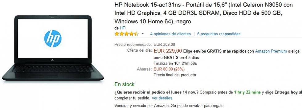 Black Friday Amazon - HP Notebook 15-ac131ns