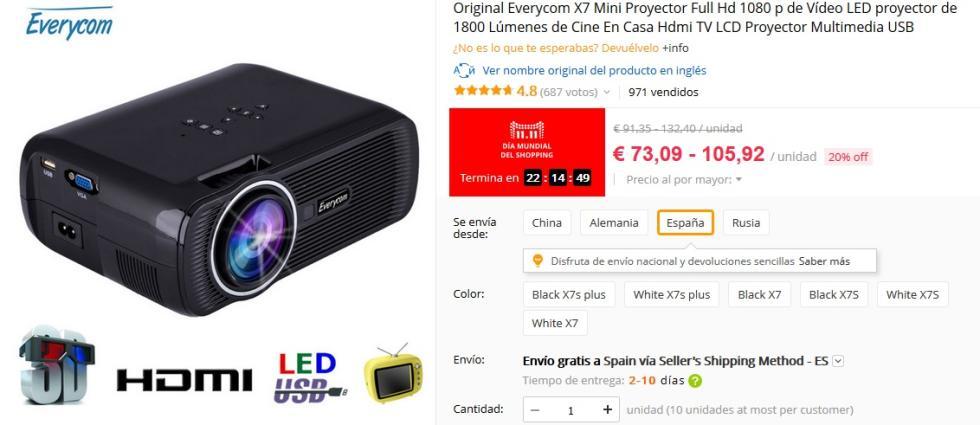 11 del 11 aliExpress - Proyector Everycom X7 Mini por 73,09 €