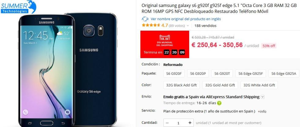 11 del 11 AliExpress - Samsung Galaxy S6 por 250,64 €