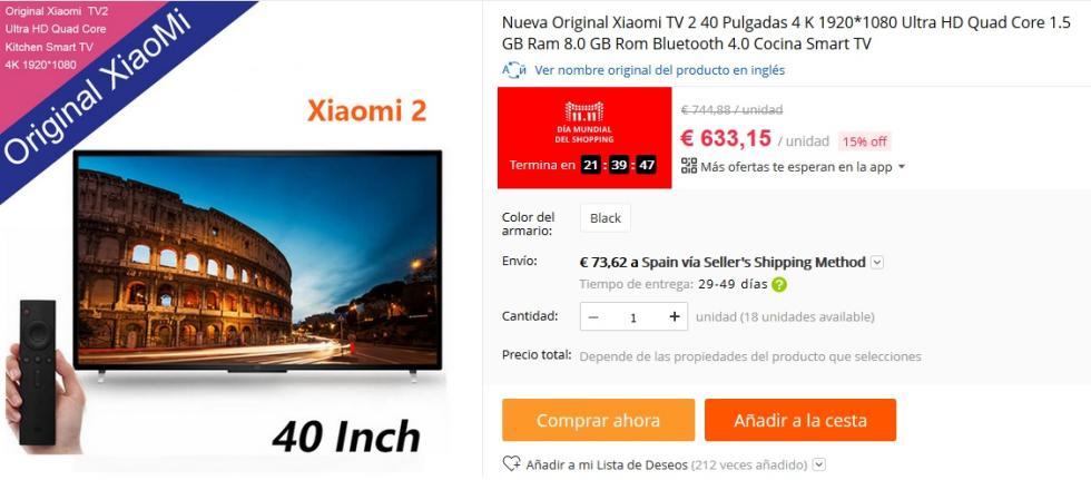 11 del 11 AliExpress - TV 4K Xiaomi 40 Pulgadas por 633,15 €
