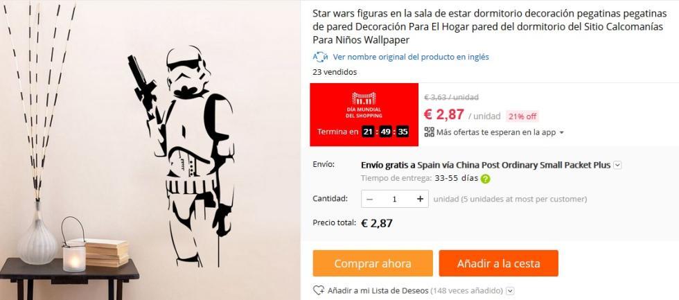11 del 11 AliExpress - Vinilo Stormtrooper Star Wars por 2,87 €