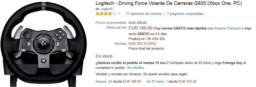 Black Friday Amazon - Volante Logitech Driving Force G920 para PC y Xbox One
