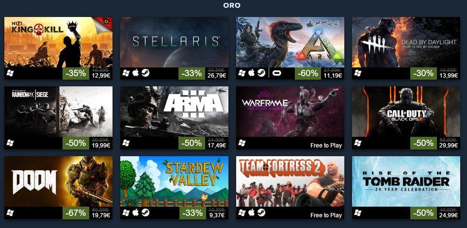 Los 100 juegos más vendidos de Steam en 2016 - Categoría Oro
