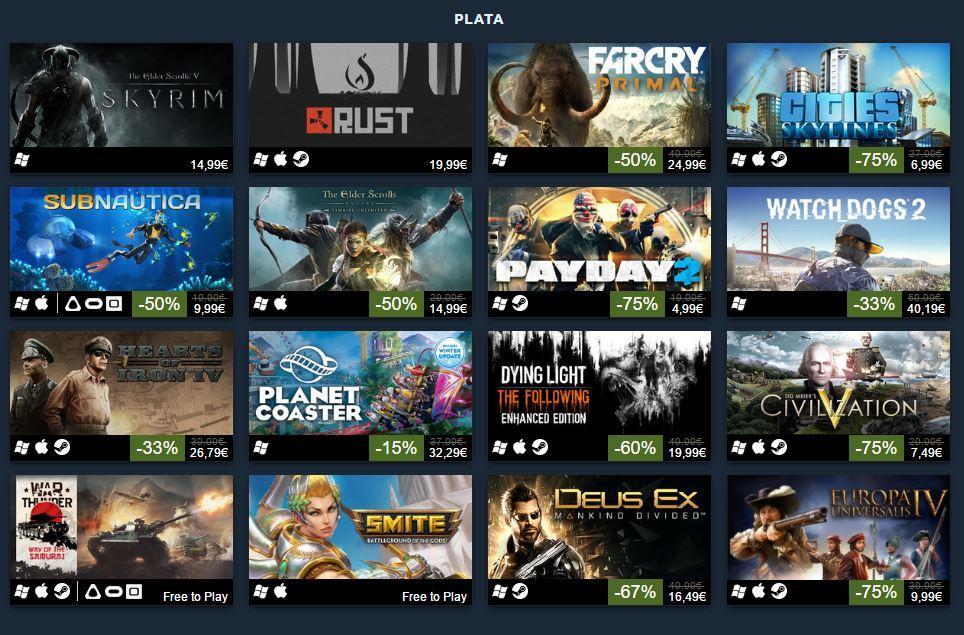 Los 100 juegos más vendidos de Steam en 2016 - Categoría Plata
