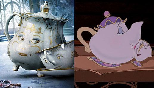 Resultado de imagen de señora pot bella y bestia dibujos vs real