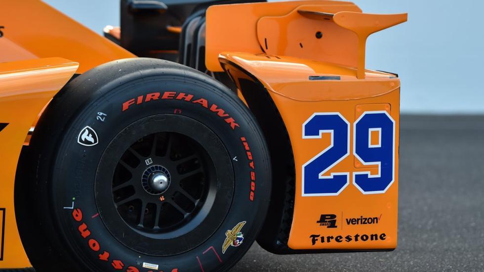 Detalle de la zaga del El McLaren-Honda de Alonso en la Indycar