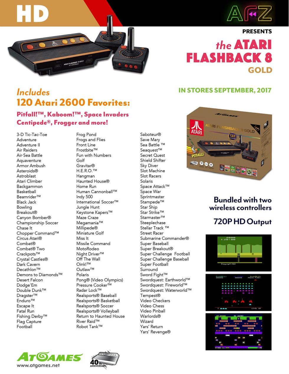 Lista de juegos completa de Atari Flashback 8 Gold, la consola retro de AtGames