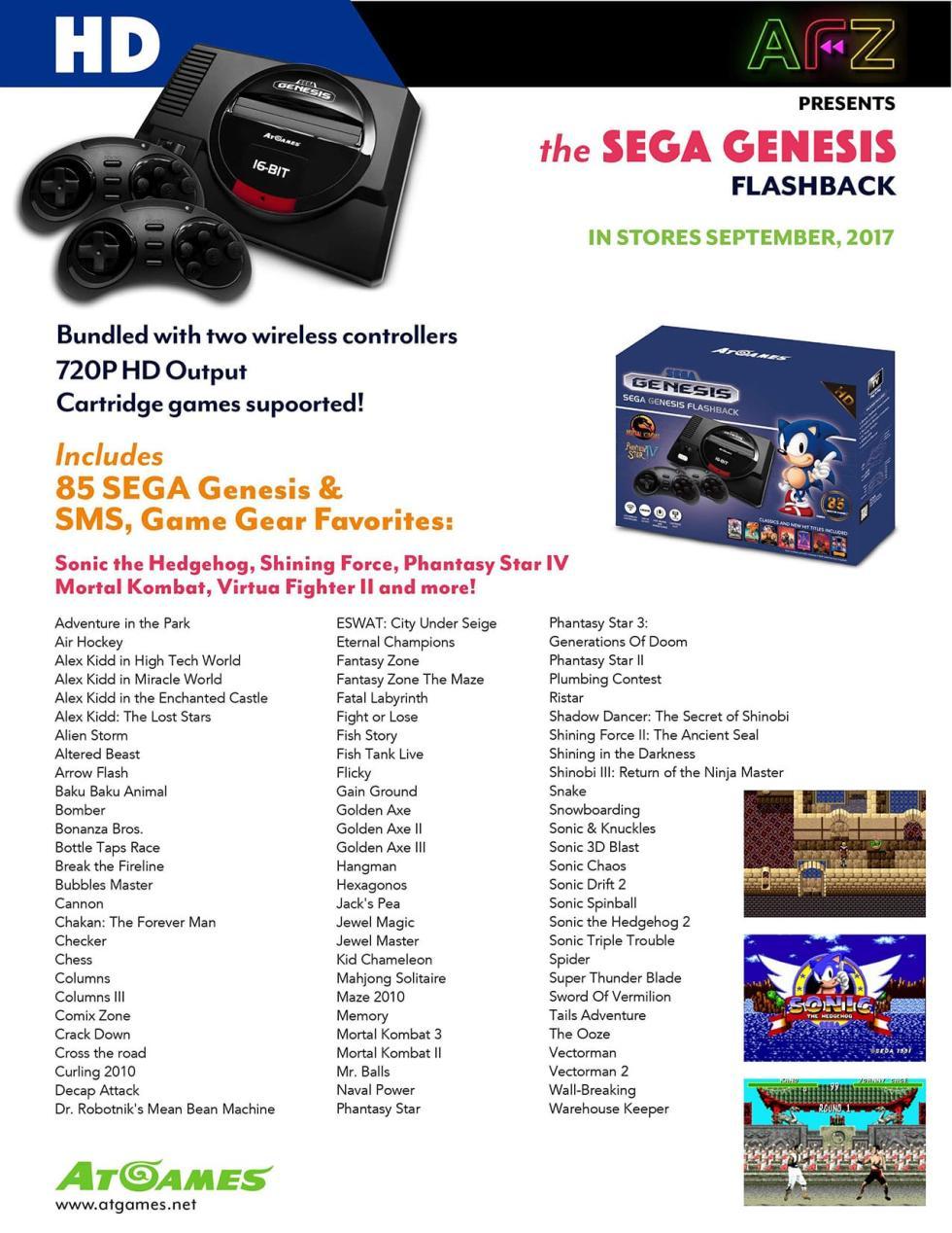 Lista completa de juegos de SEGA Genesis Flashback, la consola retro de AtGames