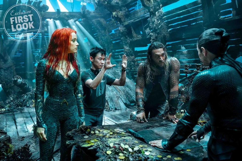 James Wan con Amber Heard, Jason Momoa y Willem Dafoe en Aquaman