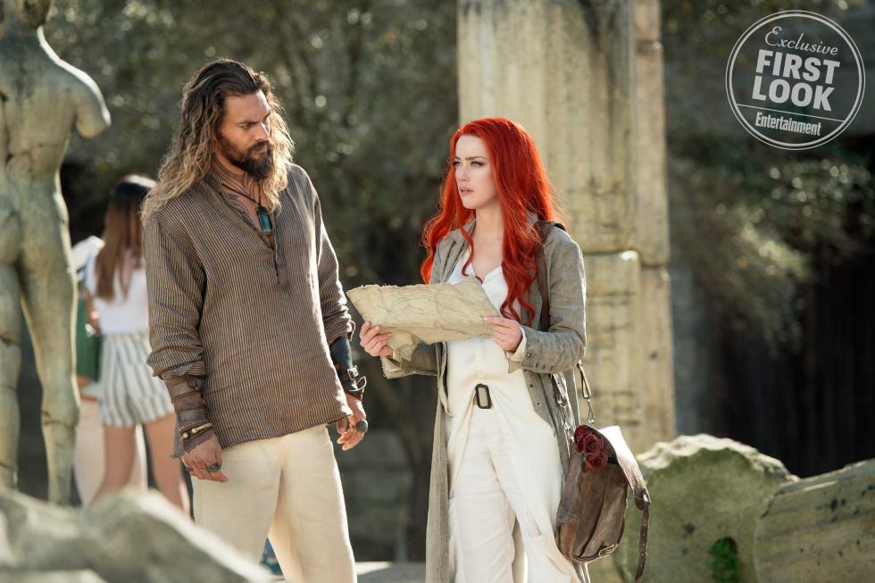 Jason Momoa y Amber Heard en Aquaman