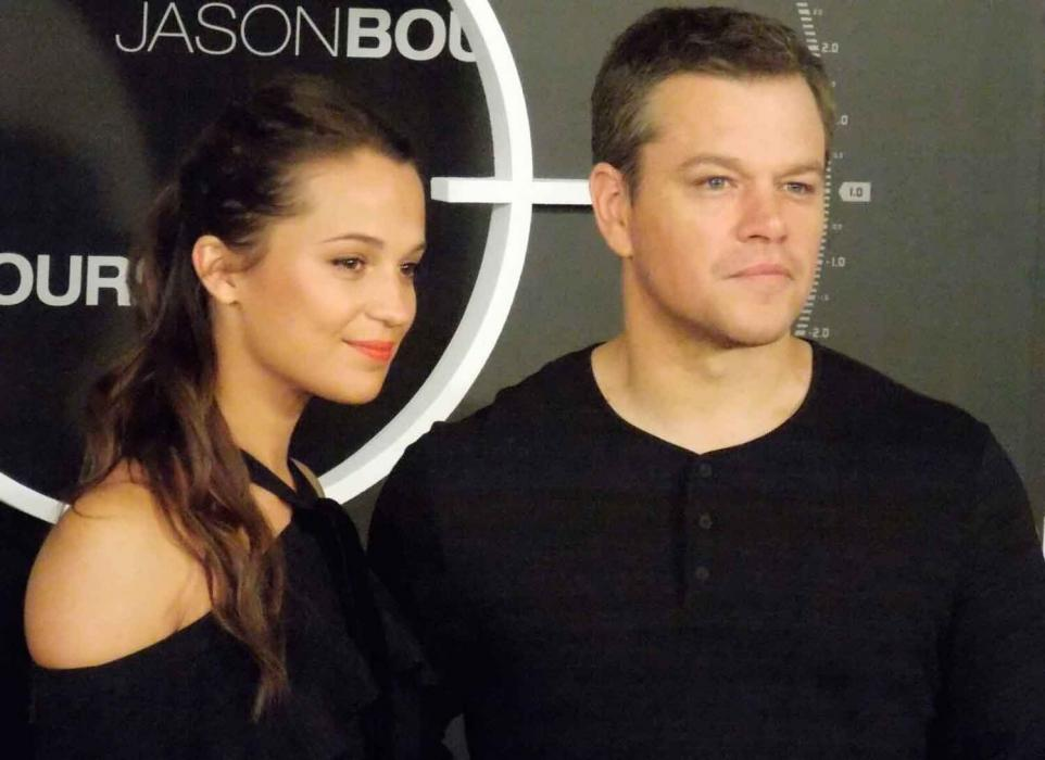 Alicia Vikander y Matt Damon en la presentación de Jason Bourne