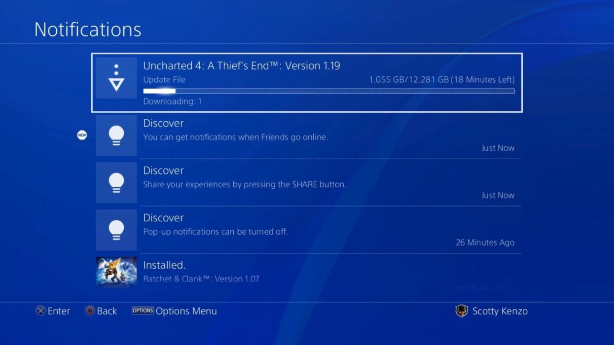 PS4 - Menú de notificaciones con la actualización 4.50