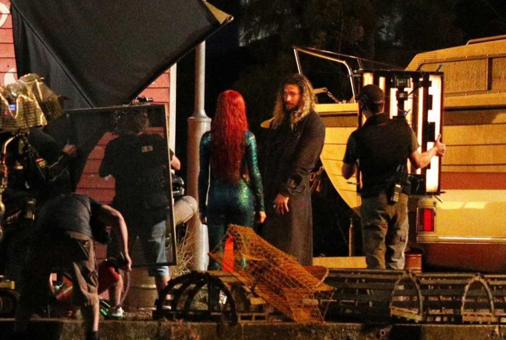Jason Momoa y Amber Heard en el rodaje de Aquaman