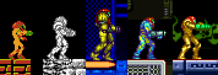 Metroid Samus trajes evolución