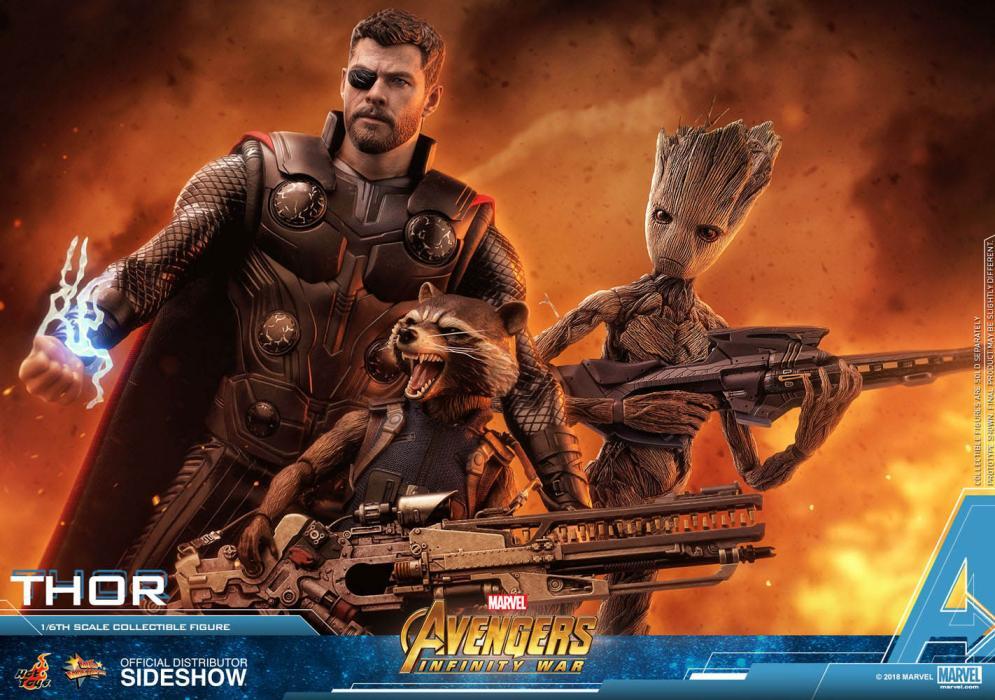 Thor, Rocket Racoon y Teen Groot Vengadores: Infinity War. Hot Toys