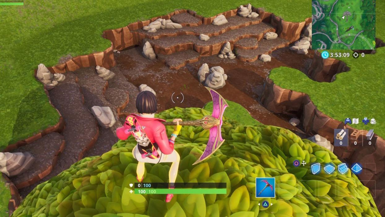 Recolecta piedra con un dúo cubierto o un Paraguas en Fortnite